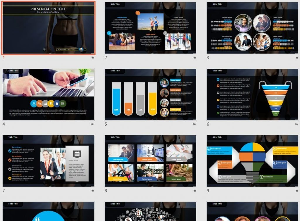 Focused on fitness PowerPoint by SageFox