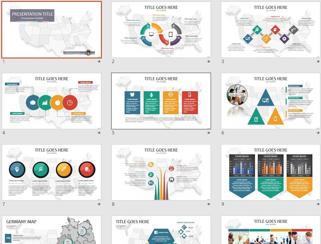 Map of USA PowerPoint Template #69317