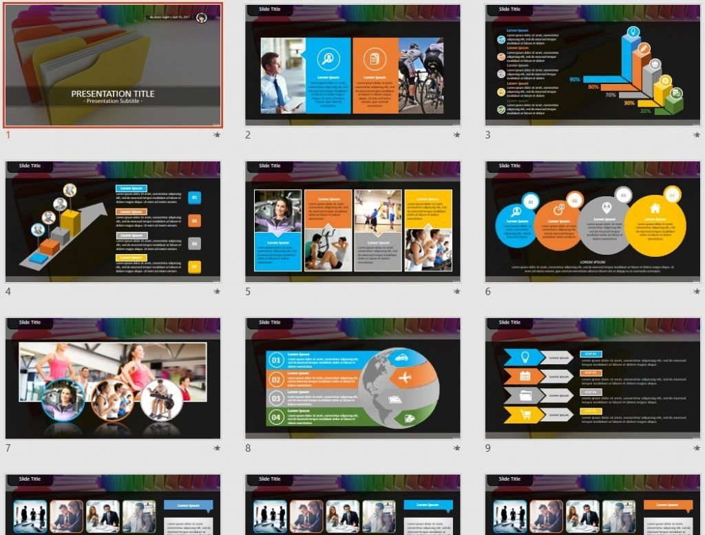 colorful folders PowerPoint by SageFox