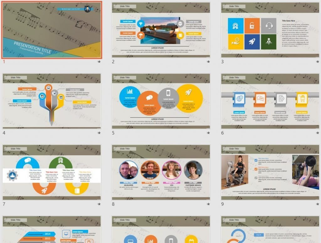 Music Notes PowerPoint by SageFox