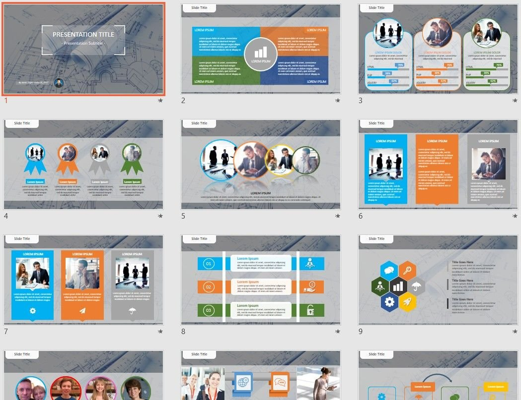 architectural project PowerPoint Template #73537 - SageFox Free