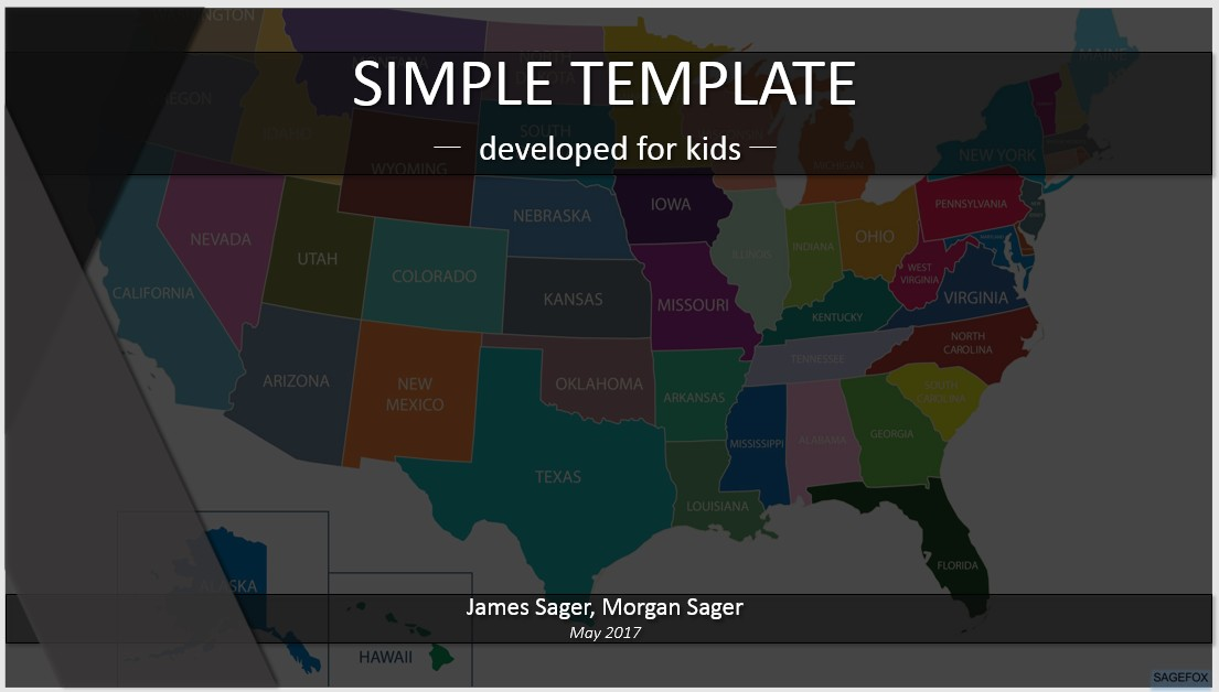 Simple Kids PowerPoint usa map 75748 Free PowerPoint Simple