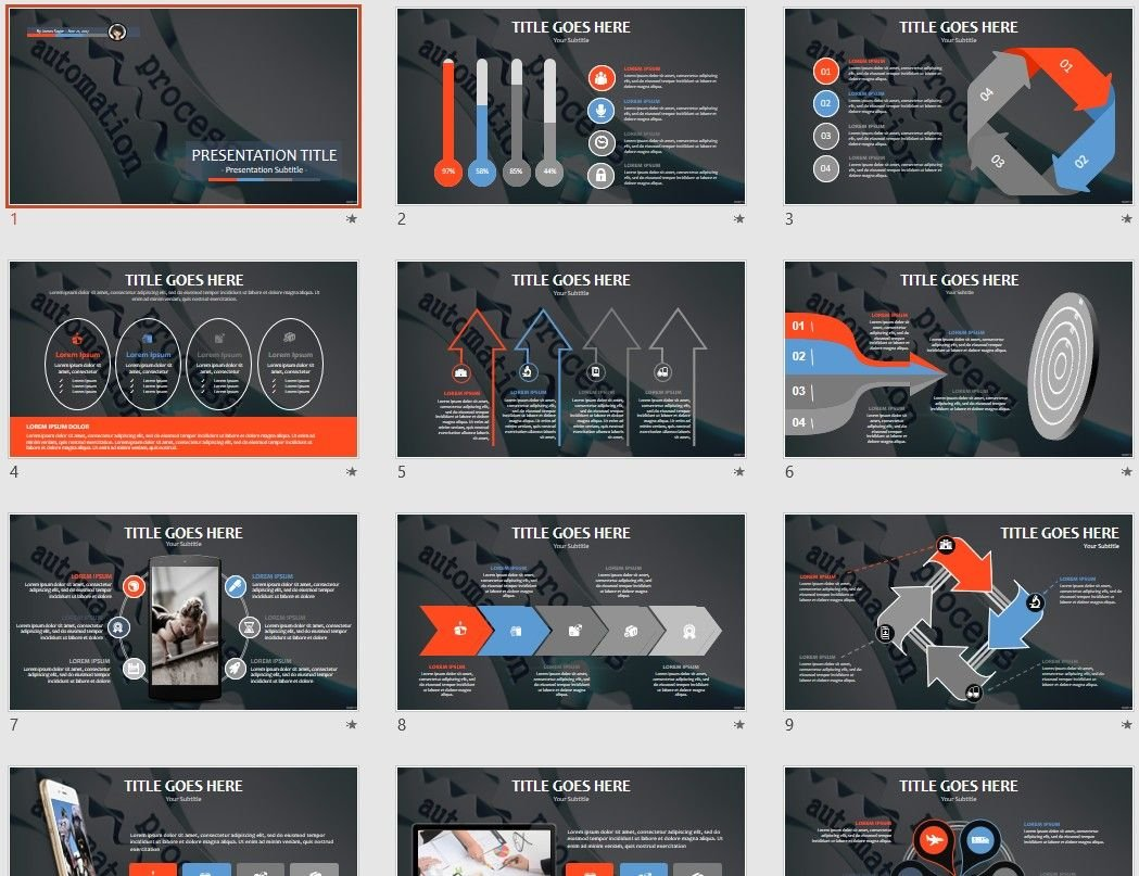 automation process powerpoint template  78754