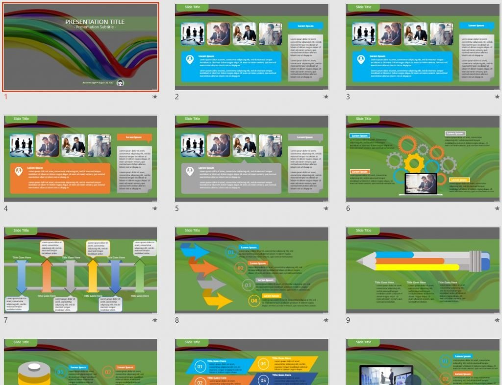 Colorful abstract curve PowerPoint by SageFox