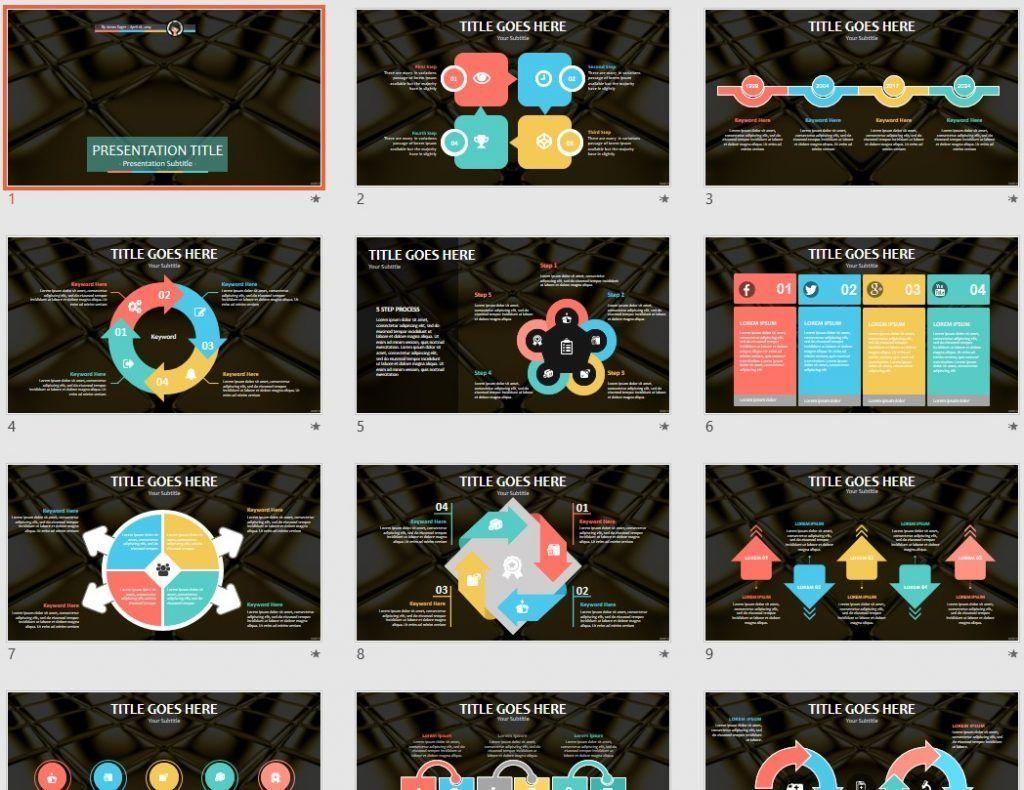 Golden cubes PowerPoint by SageFox