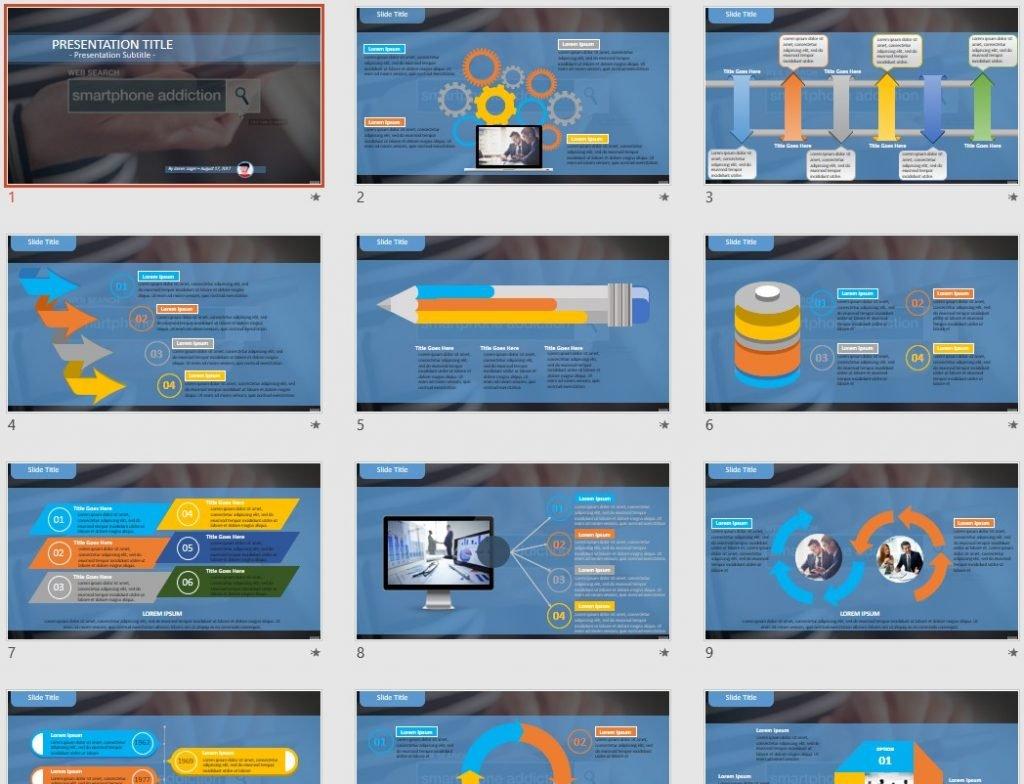 smartphone addiction PowerPoint by SageFox