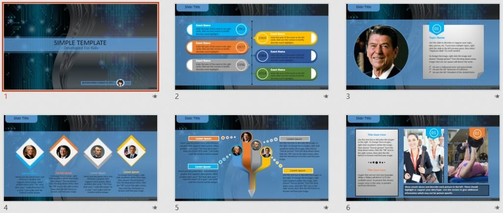 Simple Kids PowerPoint - Abstract Tech by SageFox