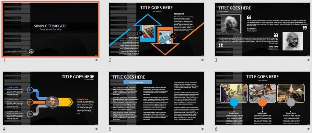 Simple Kids PowerPoint - piano keys by SageFox