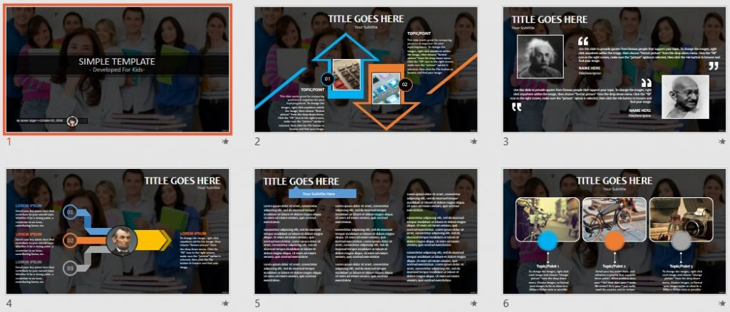 Simple Kids PowerPoint - Teacher in a classroom by SageFox