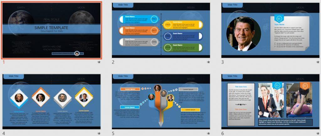 Simple Kids PowerPoint - Earth, moon by SageFox