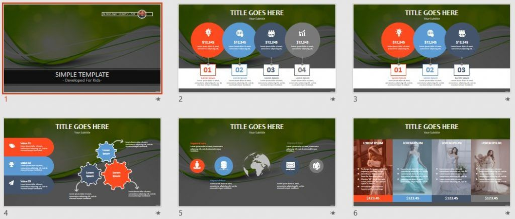 Simple Kids PowerPoint - Abstract green by SageFox