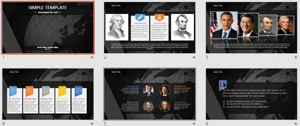 Simple Kids PowerPoint - 3d globe by SageFox