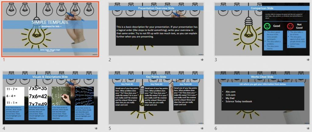 Bright Idea Simple Kids PowerPoint by SageFox