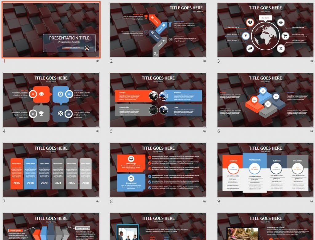 3d red cubes PowerPoint by SageFox