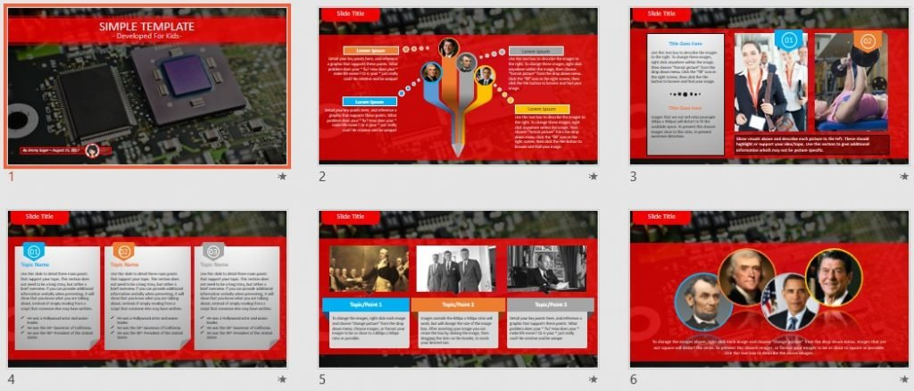 Simple Kids PowerPoint - circuit board by SageFox