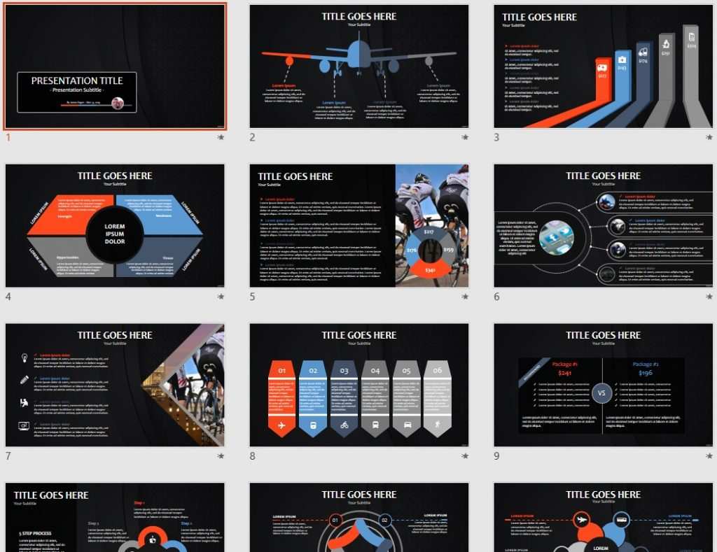 Stylish black PowerPoint by SageFox