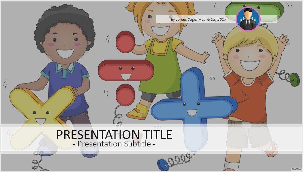 Math Kids Powerpoint Template 102666