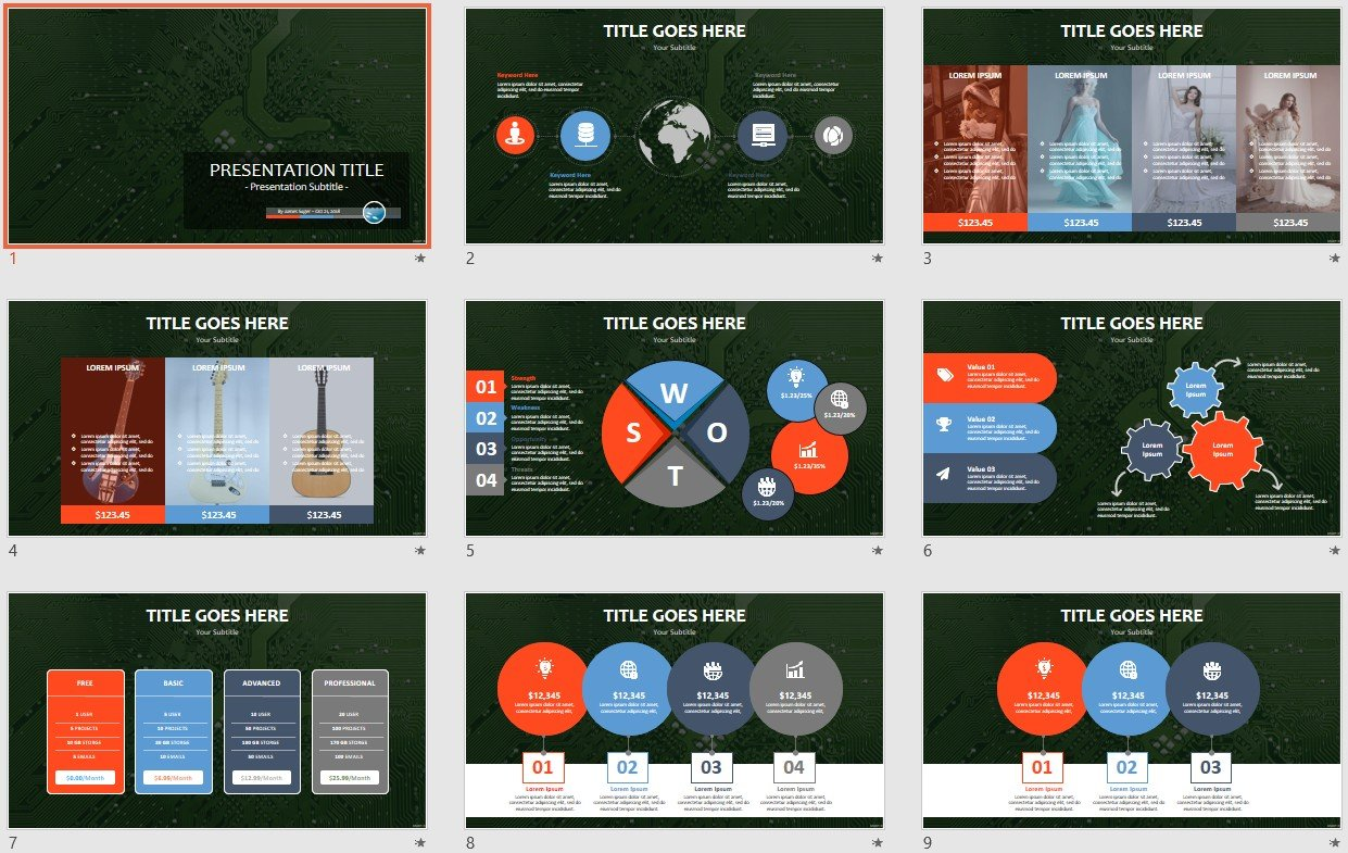 Free Circuit Board Powerpoint 105461 Sagefox Template By James Sager