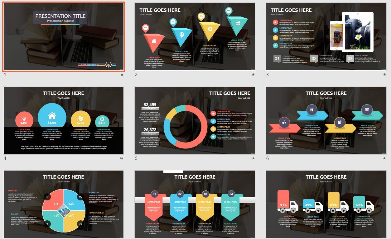 Books With Laptop Powerpoint Template 112611