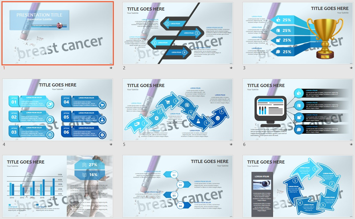 Erasing Breast Cancer PowerPoint Template #21 For Free Breast Cancer Powerpoint Templates