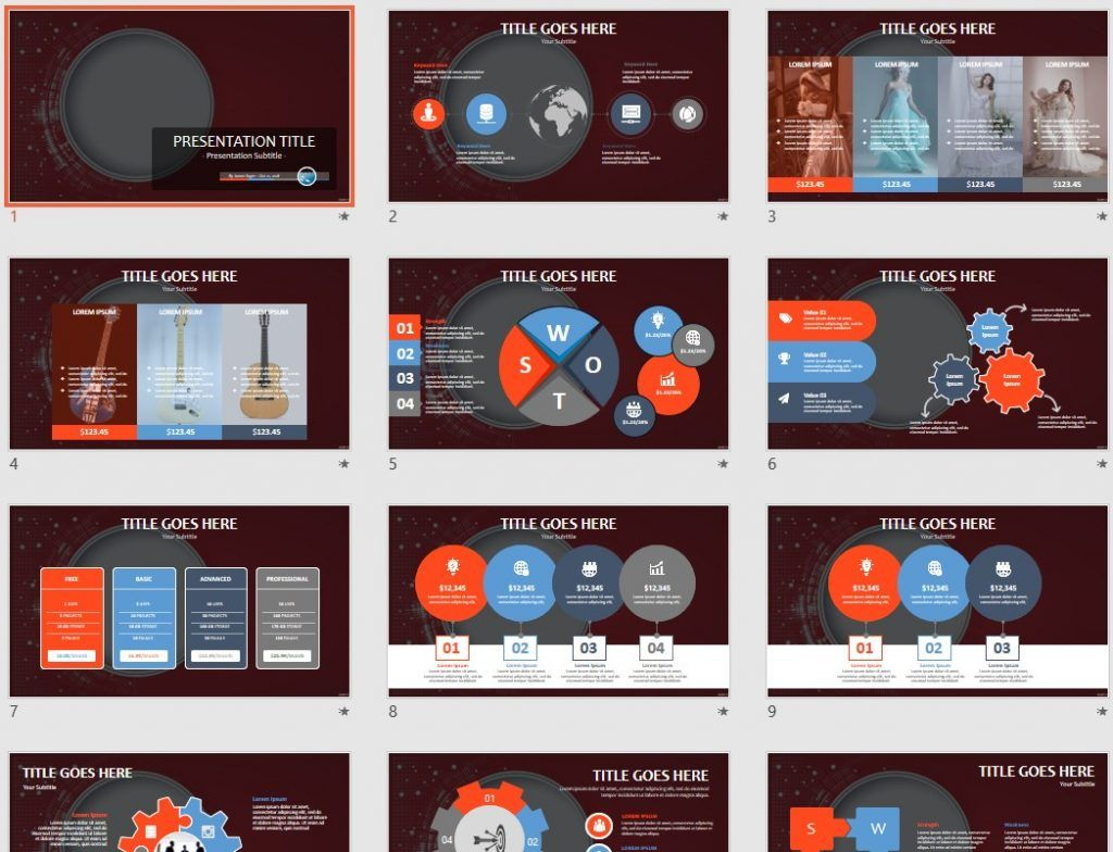 abstract red powerpoint template  89755