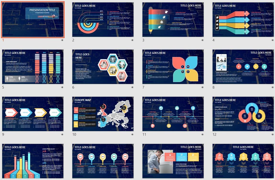 Blueprints Powerpoint Template 136808